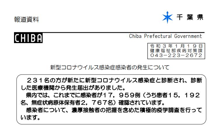 2021年1月19日香取市新型コロナウイルス感染症情報