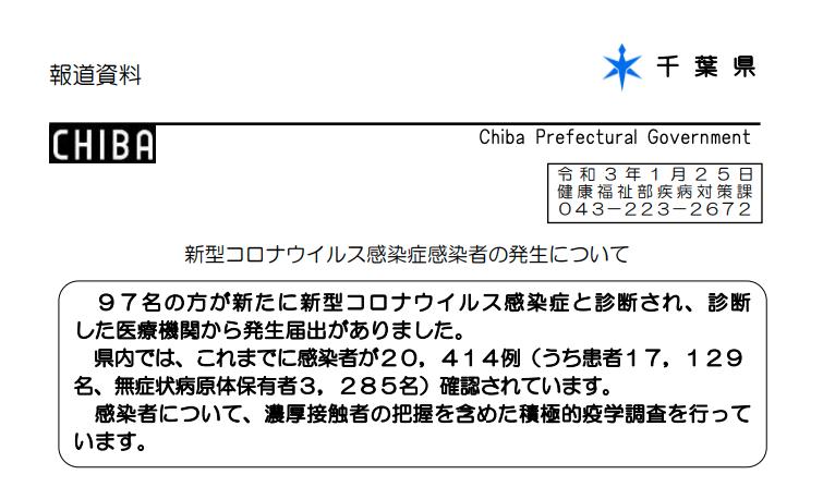 2021年1月25日香取市新型コロナウイルス感染症情報