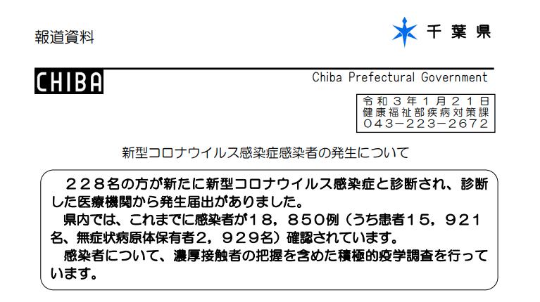 2021年1月21日香取市新型コロナウイルス感染症情報