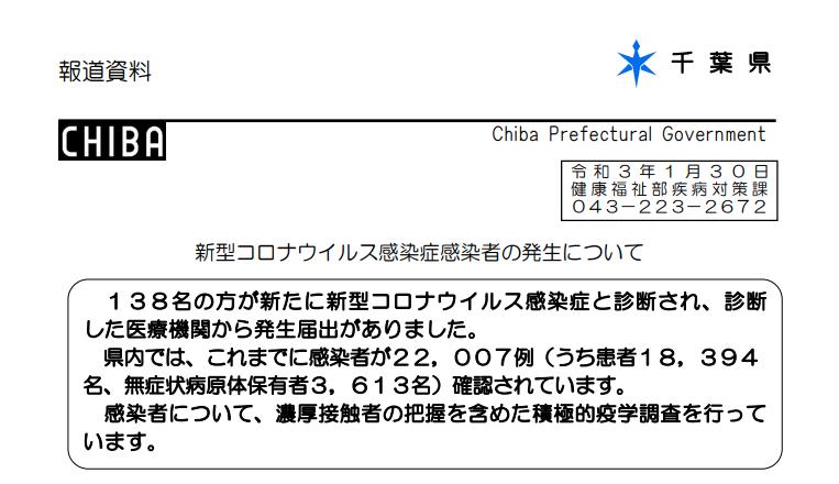 2021年1月30日香取市新型コロナウイルス感染症情報