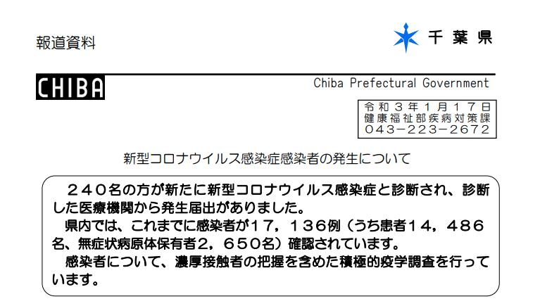 2021年1月17日香取市新型コロナウイルス感染症情報