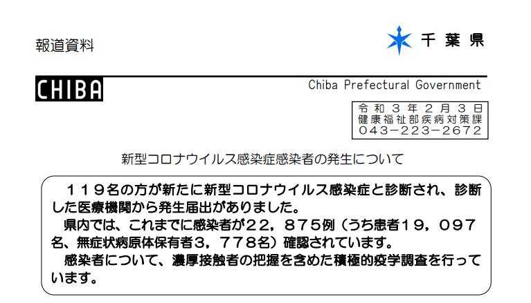 2021年2月2日香取市新型コロナウイルス感染症情報
