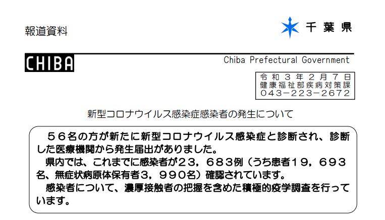 2021年2月7日香取市新型コロナウイルス感染症情報
