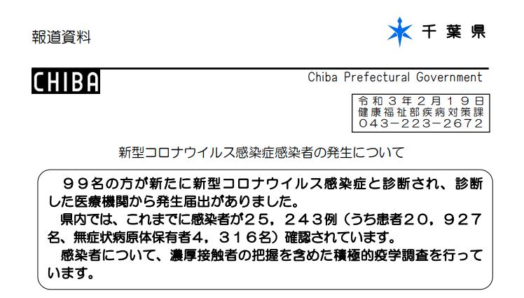 2021年2月19日香取市新型コロナウイルス感染症情報