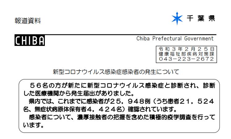 2021年2月24日香取市新型コロナウイルス感染症情報