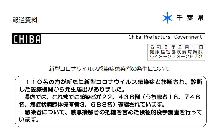 2021年2月1日香取市新型コロナウイルス感染症情報
