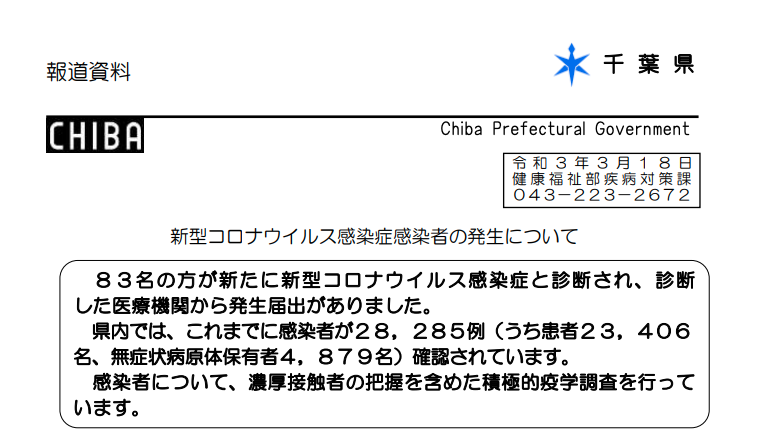 2021年3月18日香取市新型コロナウイルス感染症情報