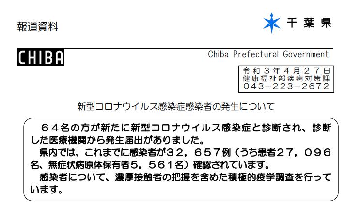 2021年4月27日香取市新型コロナウイルス感染症情報