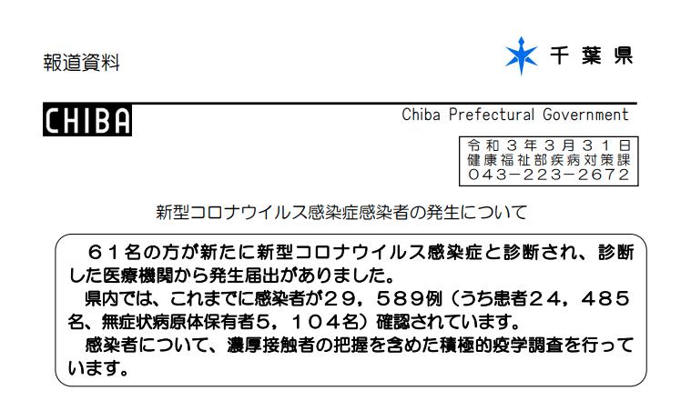 2021年3月31日香取市新型コロナウイルス感染症情報