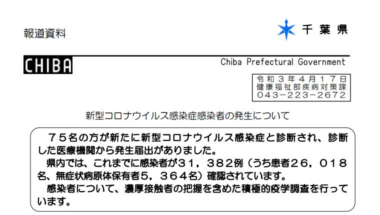 2021年4月17日香取市新型コロナウイルス感染症情報