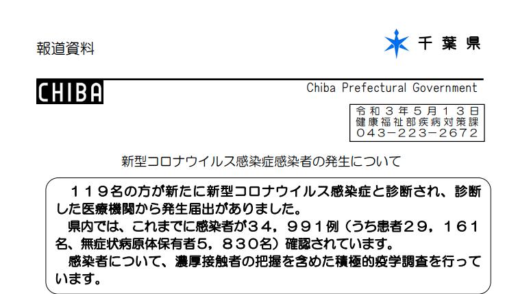 2021年5月13日香取市新型コロナウイルス感染症情報