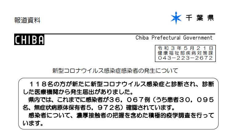 2021年5月21日香取市新型コロナウイルス感染症情報