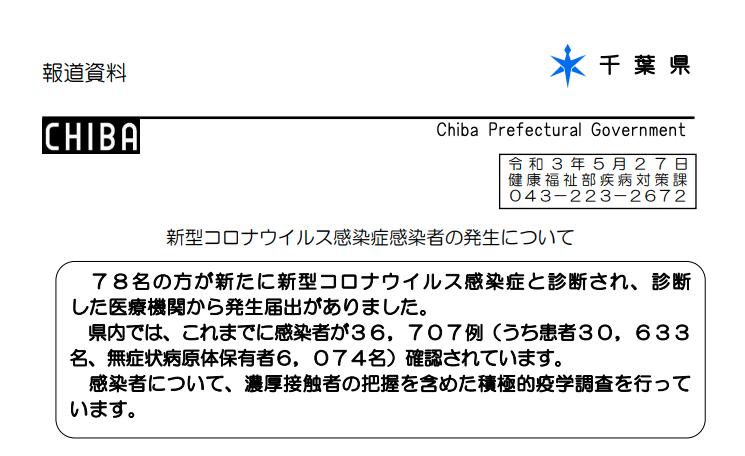 2021年5月27日香取市新型コロナウイルス感染症情報