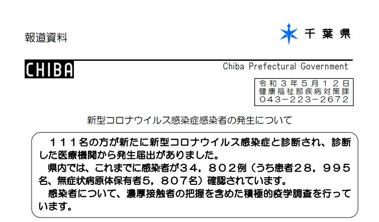 2021年5月12日香取市新型コロナウイルス感染症情報