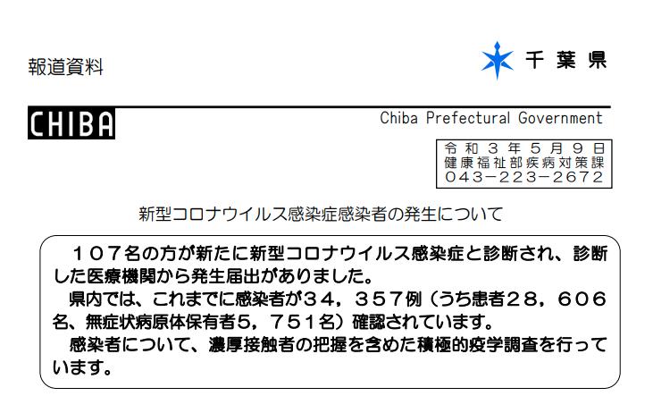 2021年5月9日香取市新型コロナウイルス感染症情報