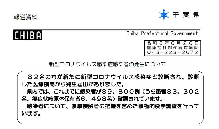 2021年6月26日香取市新型コロナウイルス感染症情報