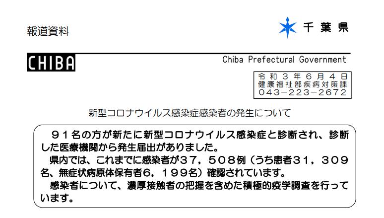 2021年6月4日香取市新型コロナウイルス感染症情報