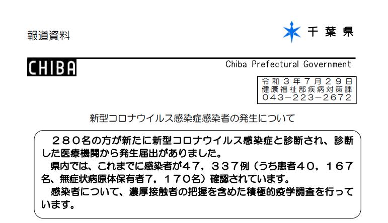 2021年7月29日香取市新型コロナウイルス感染症情報