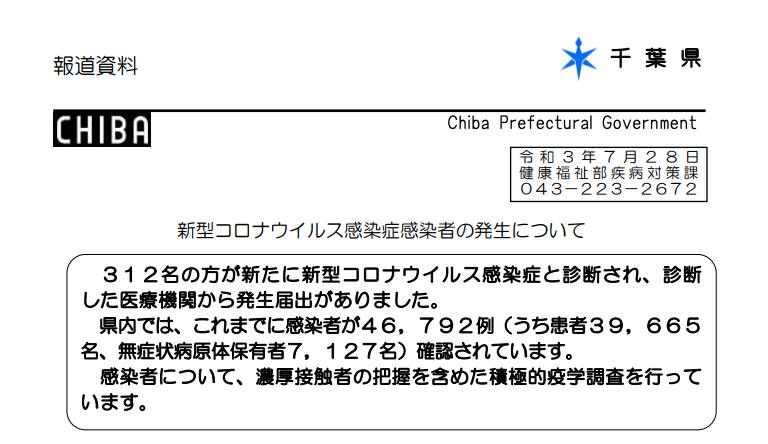 2021年7月28日香取市新型コロナウイルス感染症情報