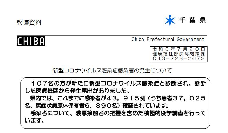 2021年7月20日香取市新型コロナウイルス感染症情報
