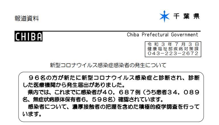 2021年7月3日香取市新型コロナウイルス感染症情報