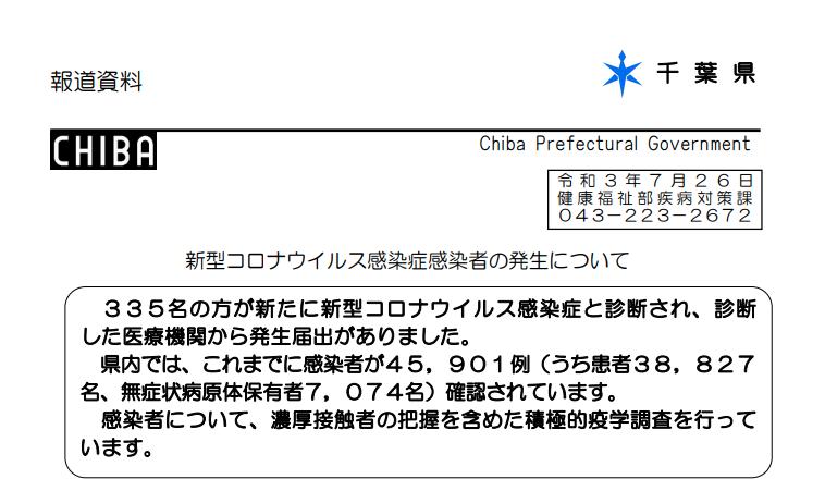 2021年7月26日香取市新型コロナウイルス感染症情報