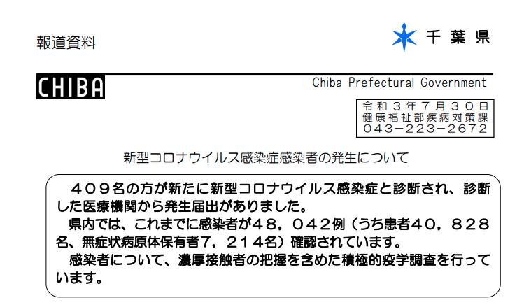 2021年7月30日香取市新型コロナウイルス感染症情報