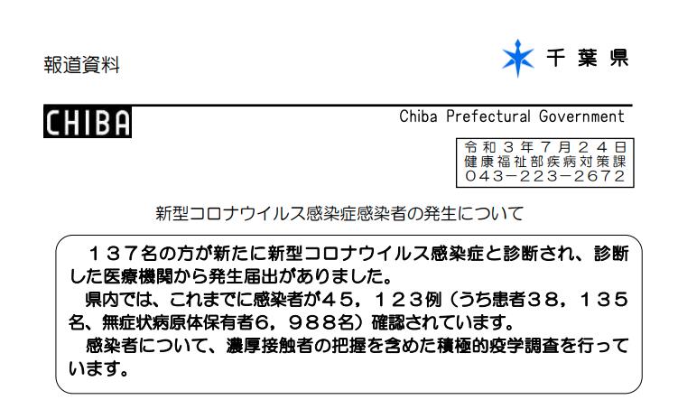 2021年7月24日香取市新型コロナウイルス感染症情報