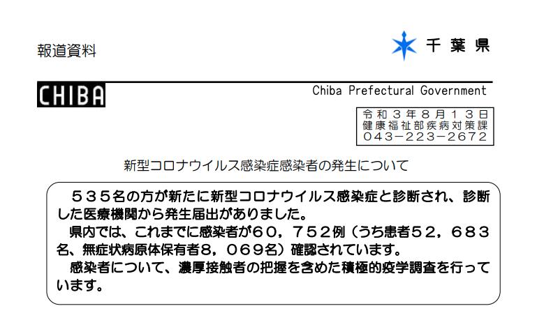 2021年8月13日香取市新型コロナウイルス感染症情報