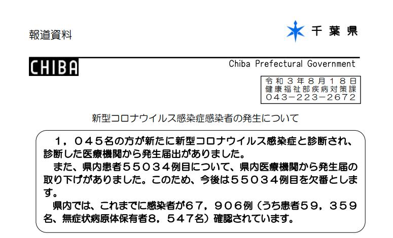 2021年8月18日香取市新型コロナウイルス感染症情報