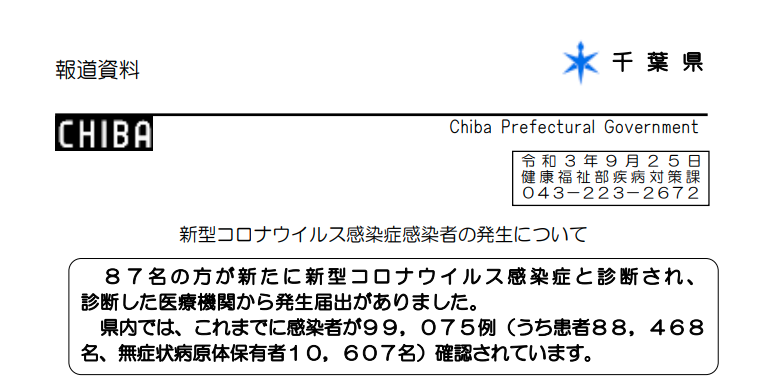 2021年9月25日香取市新型コロナウイルス感染症情報