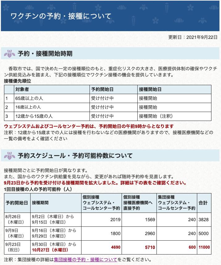 2021年9月23日新型コロナワクチン予約
